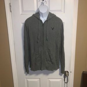 American Eagle hooded zip up grey sweater